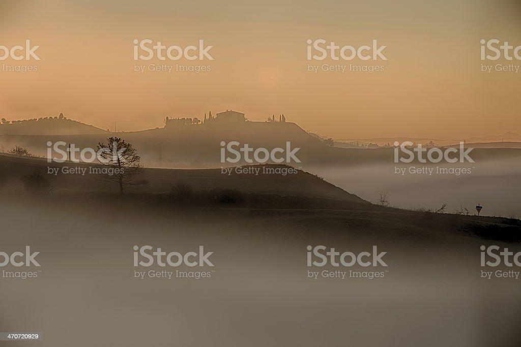 Foggy sunset royalty-free stock photo