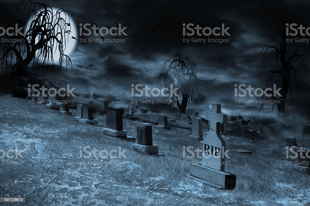 Foggy Supermoon Lit Night at Graveyard With Copy Space stock photo