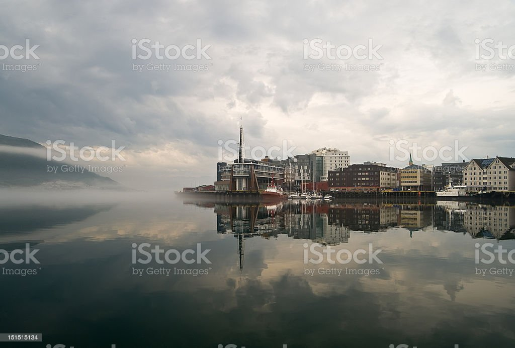 foggy town Tromso in Norway royalty-free stock photo