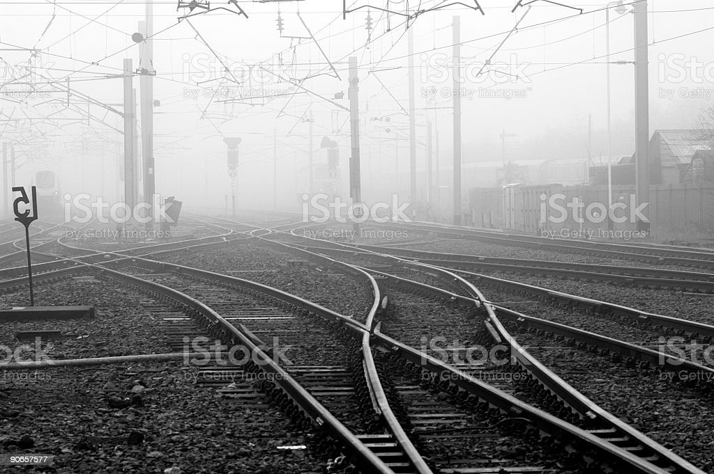 foggy train junction royalty-free stock photo