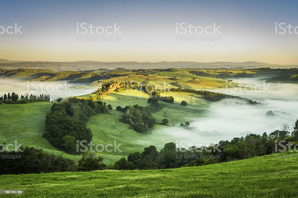 Foggy Valley in the morning, Tuscany royalty-free stock photo