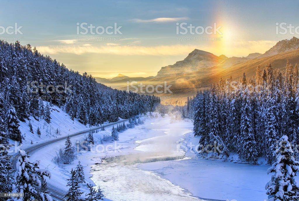 Foggy Valley stock photo