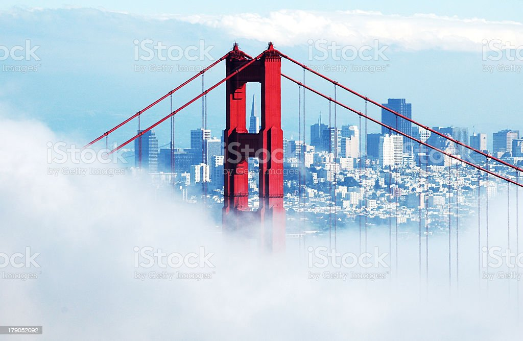 Foggy view of the Golden Gate Bridge in San Franscisco royalty-free stock photo