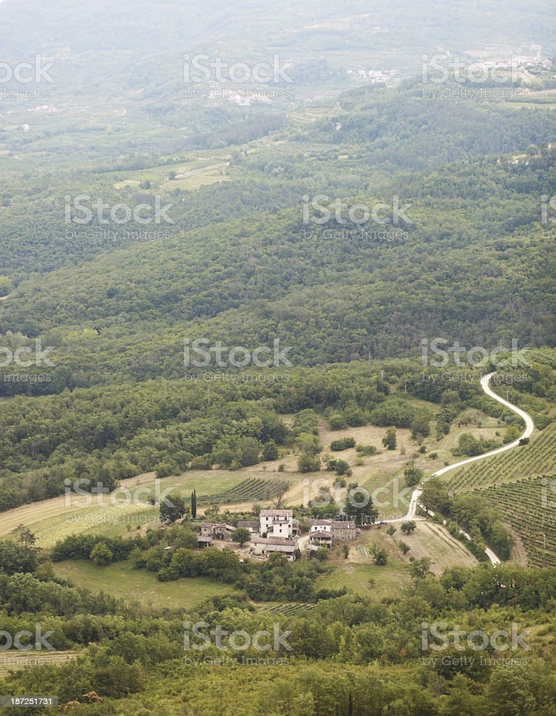 foggy village in the morning royalty-free stock photo