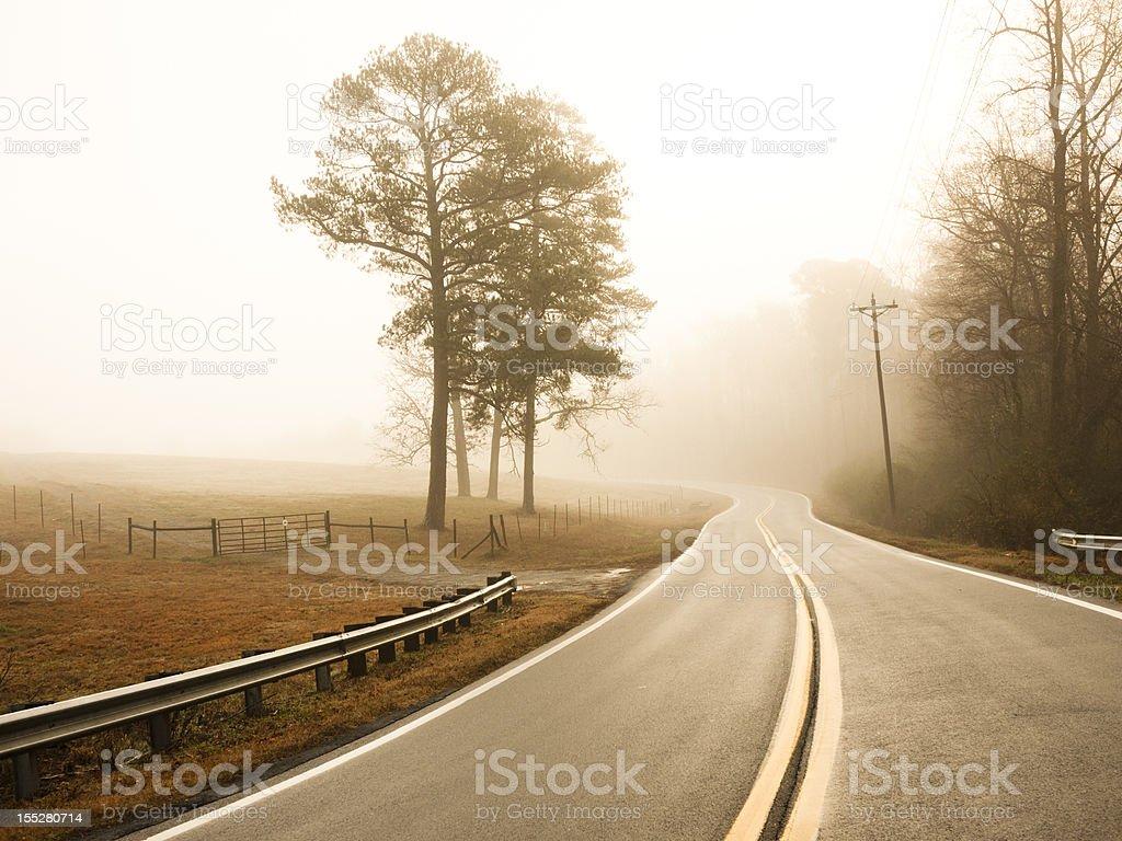 foggy winter morning stock photo