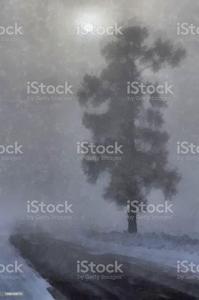 Foggy winter night royalty-free stock photo
