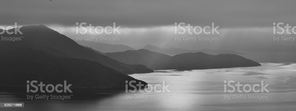 Fogy morning in the Marlborough Sounds stock photo