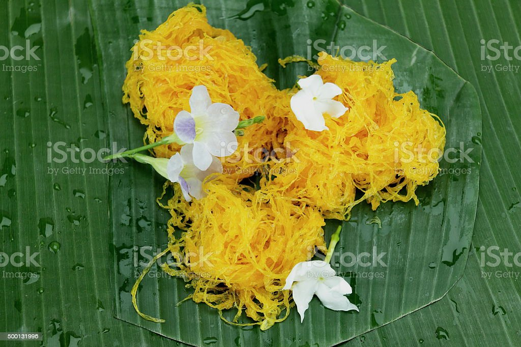 foi thong, sweets of the country Thailand stock photo
