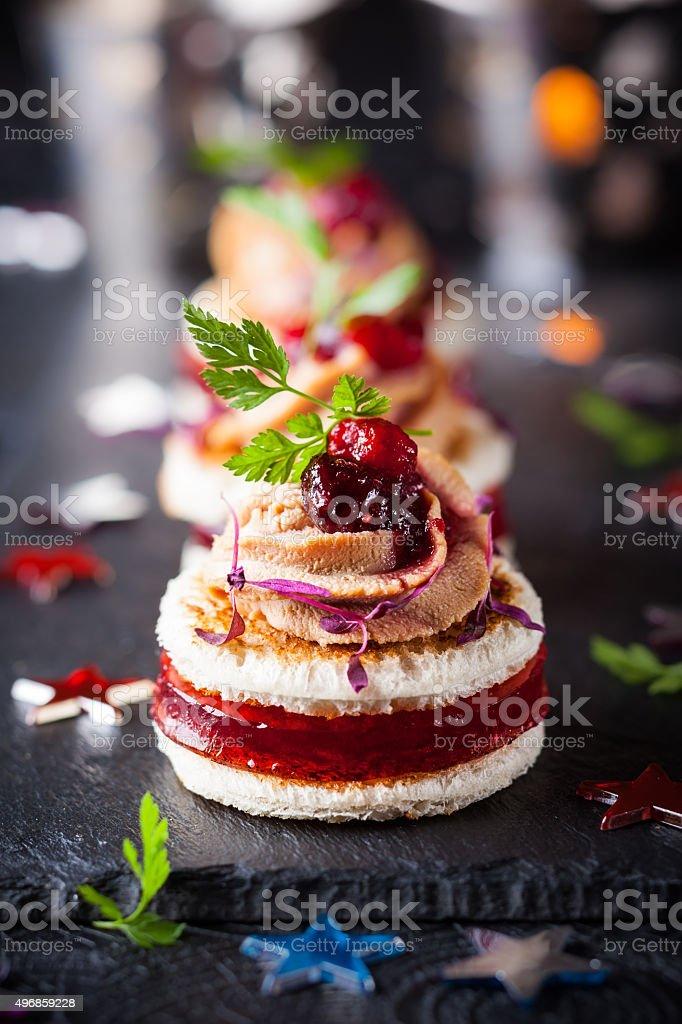 Foie gras and cranberry chutney stock photo