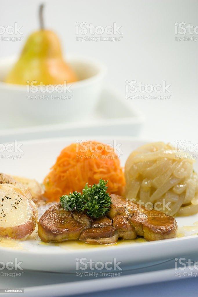 foie gras & pear stock photo