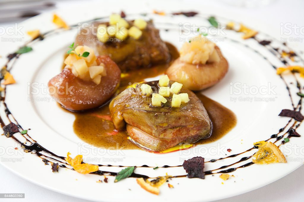 Foie gras with pineapple and fruits stock photo