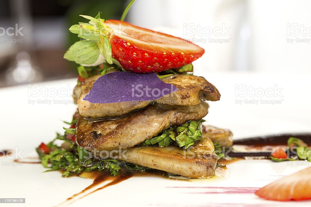 foie gras with strawberries royalty-free stock photo