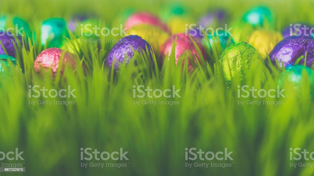 Foil covered Easter eggs in grass stock photo