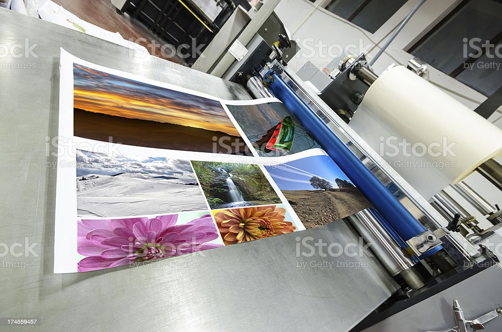 offset machine roll foil laminator stock photo