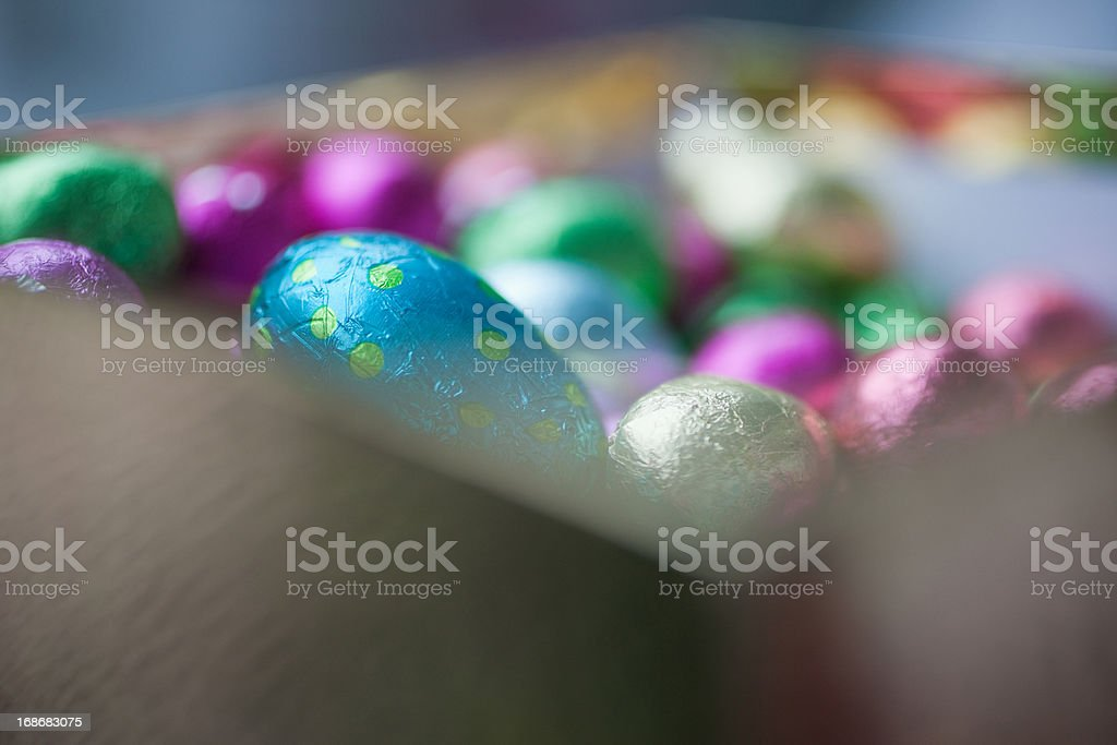 Foil-wrapped chocolate eggs royalty-free stock photo