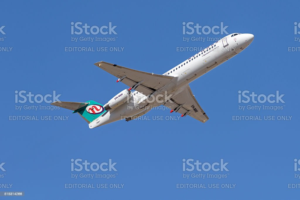Fokker 100 from Network Aviation - Quantas Group Airline stock photo