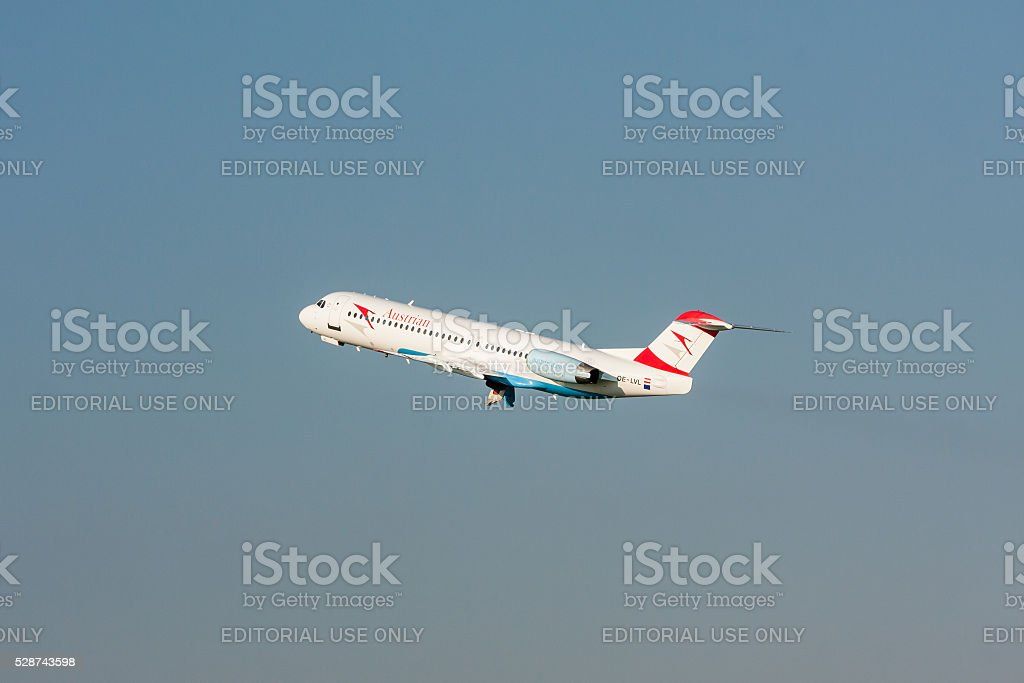 Fokker 100 of Austrian Airlines stock photo