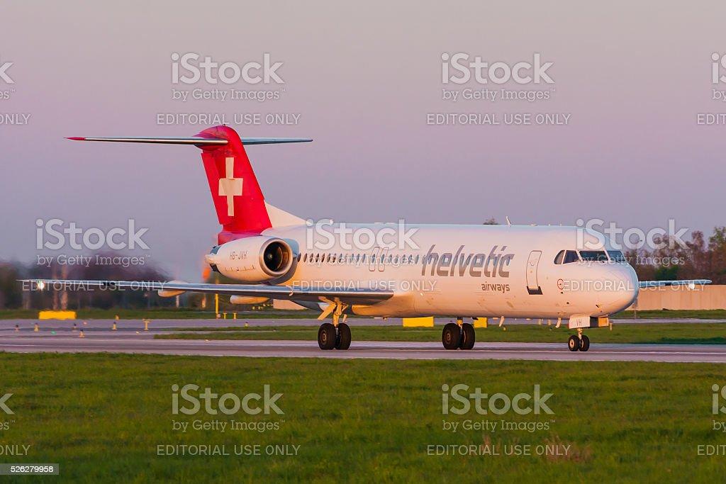 Fokker 100 of Helvetic Airways stock photo