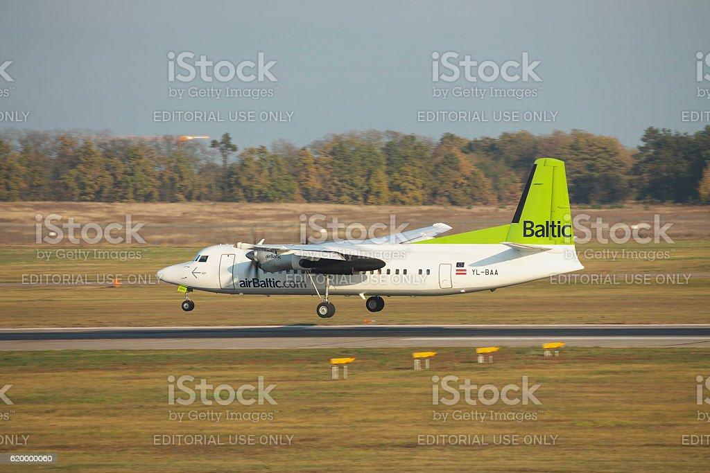 Fokker 50 regional passenger plane stock photo
