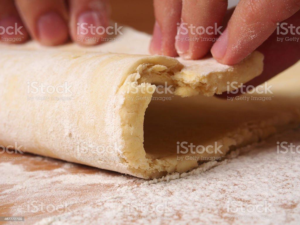 Fold dough. Making short-cut puff pastry series.