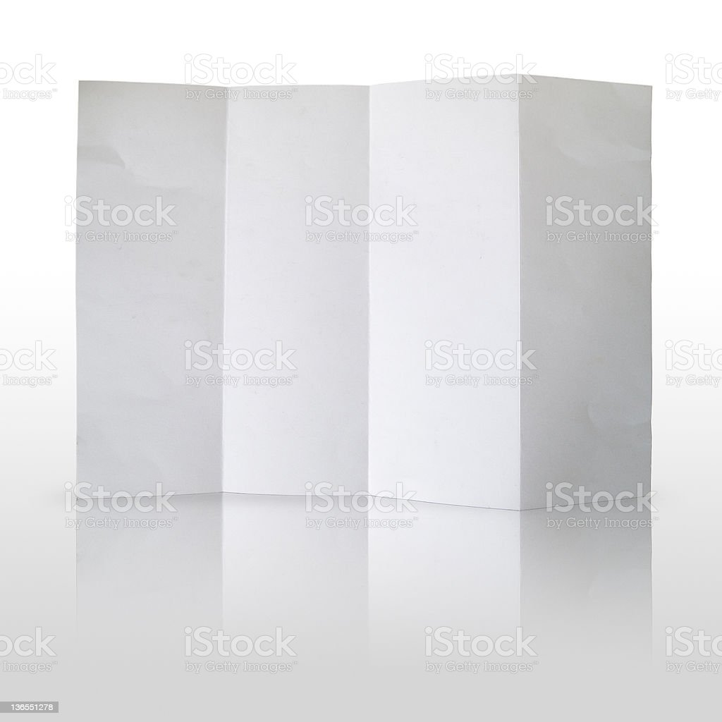 Fold white paper on reflect background royalty-free stock photo