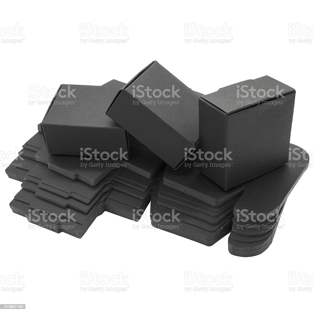 Foldable black paper boxes. Isolated stock photo