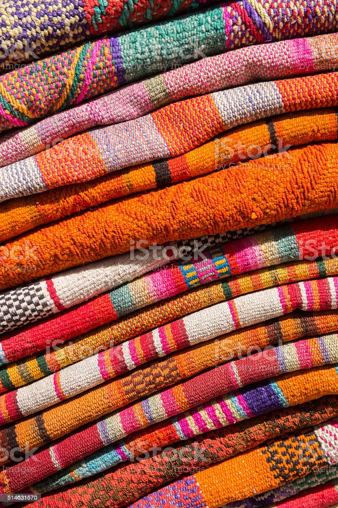 Folded Andean Woven Wool Textiles stock photo