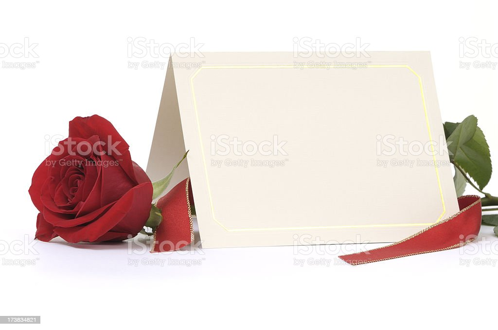 Folded blank card with red rose royalty-free stock photo