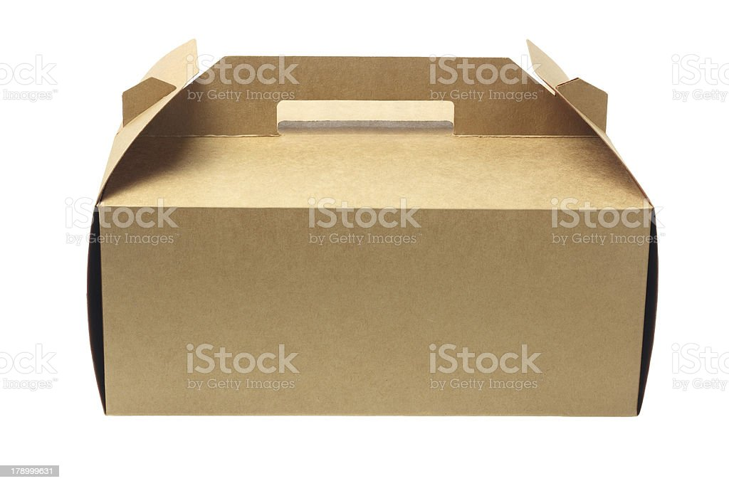 A folded cardboard box for a cake stock photo