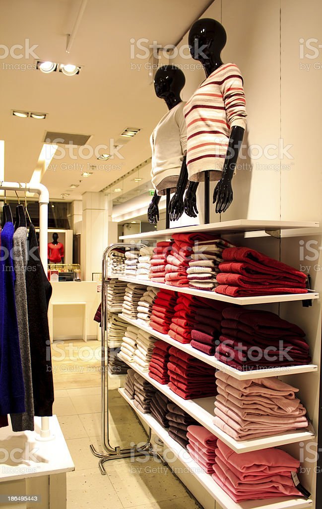 Folded clothes in the department store royalty-free stock photo