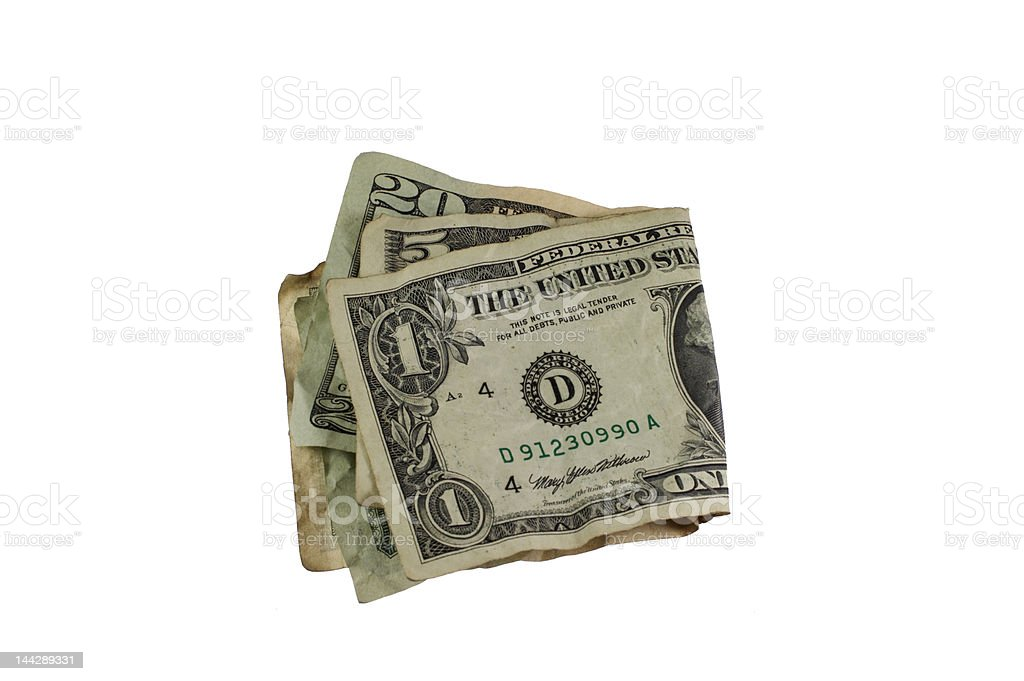 Folded dollar bills royalty-free stock photo
