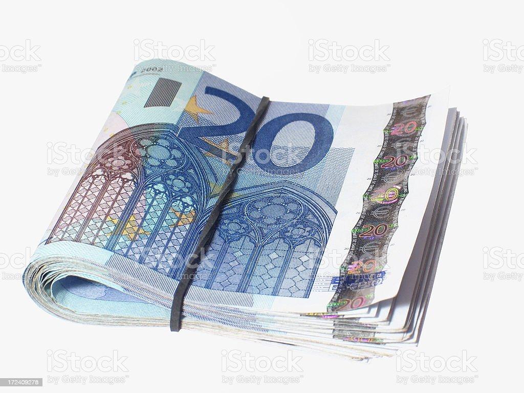 Folded euro bills stock photo