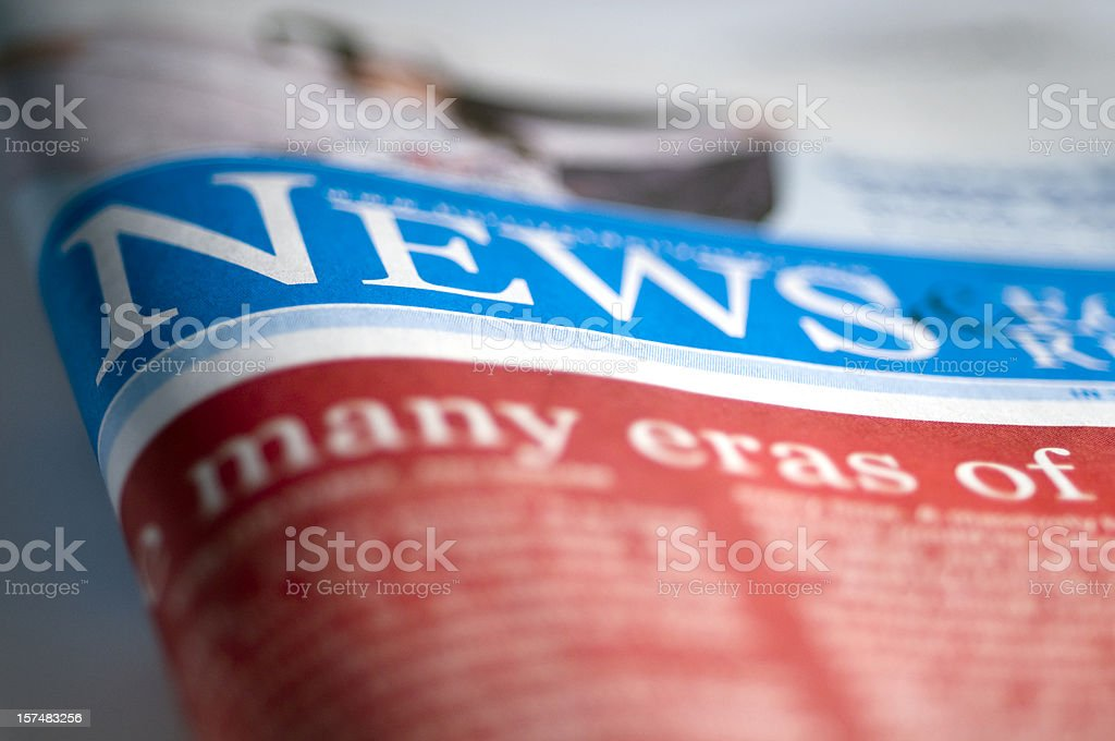 Folded Financial newspaper on table, close-up royalty-free stock photo
