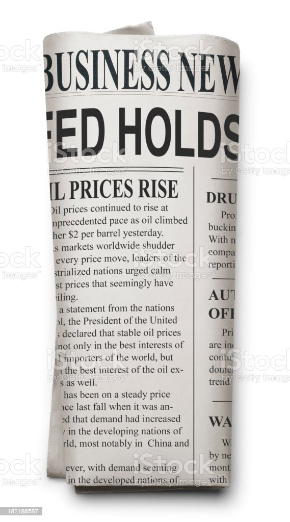 Folded Financial Newspaper stock photo