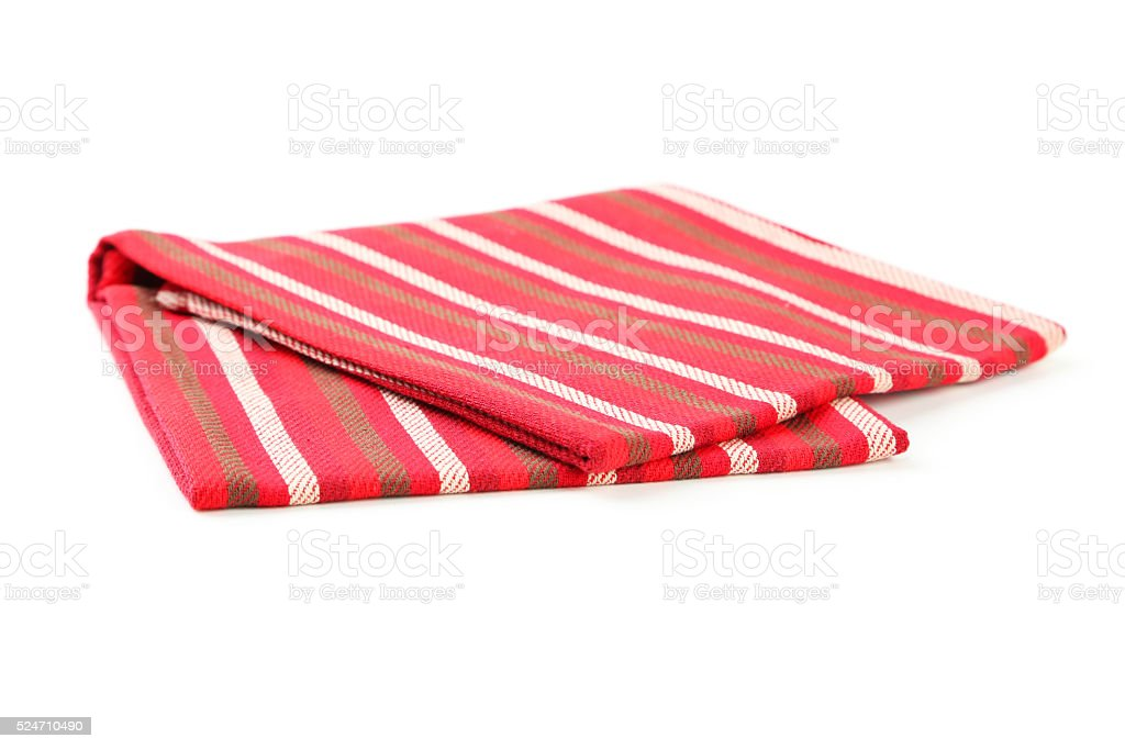 Folded napkin on white background stock photo