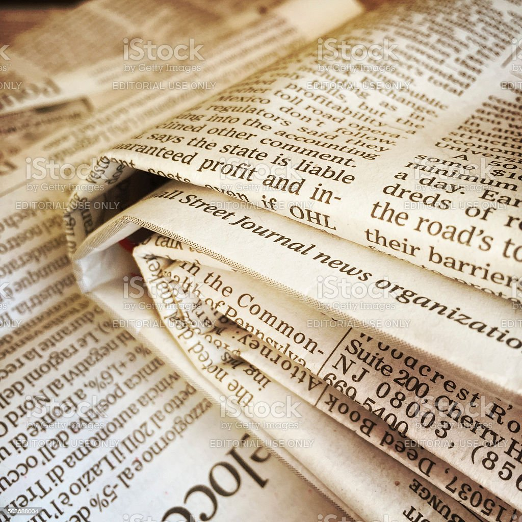 Folded Newspapers including The Wall Street Journal stock photo