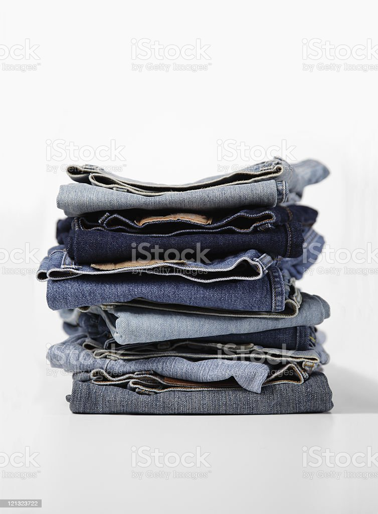 Folded old Blue Jeans royalty-free stock photo