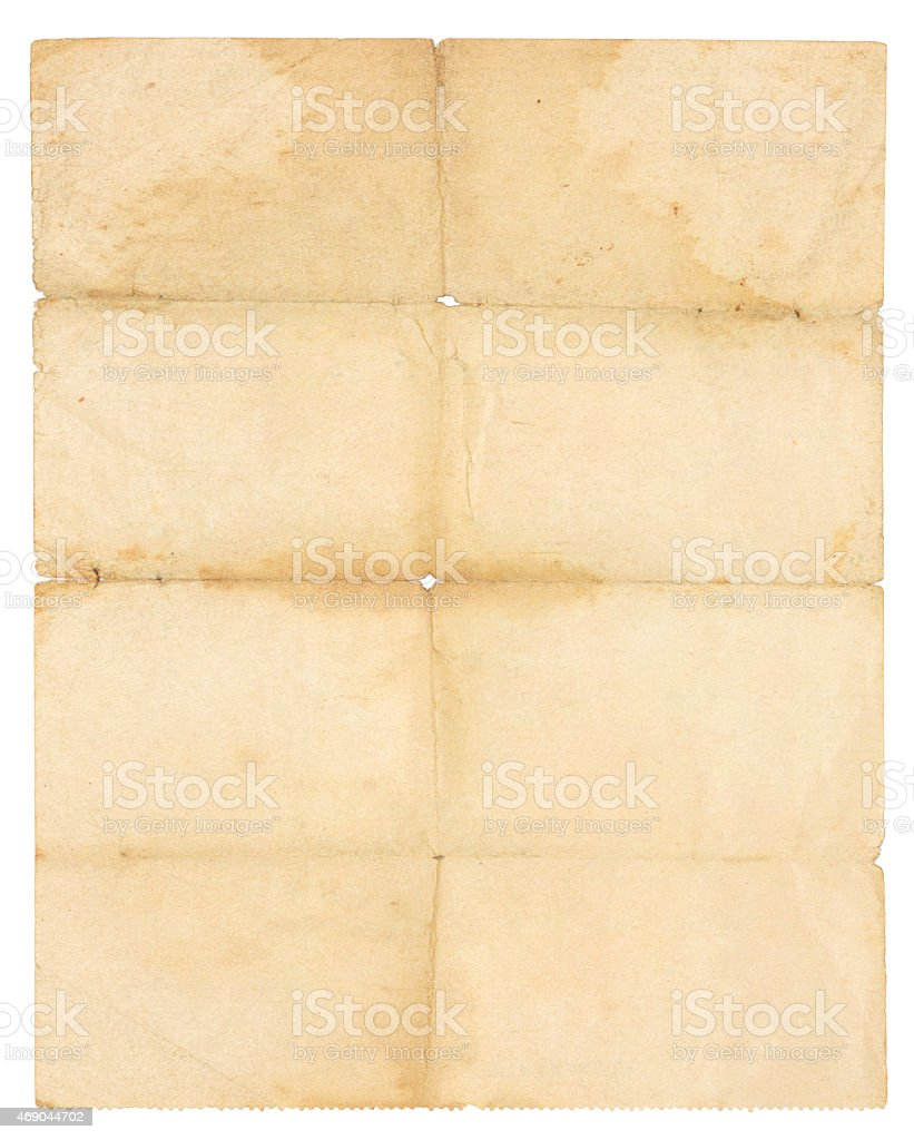Folded old paper stock photo