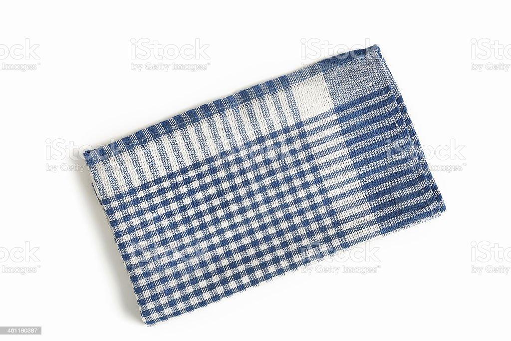 Folded Plaid Blue Tea Towel on White Background stock photo