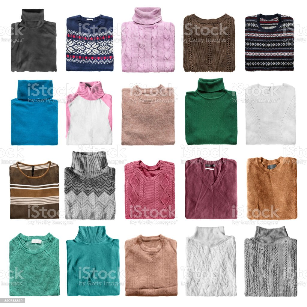 Folded sweaters isolated stock photo