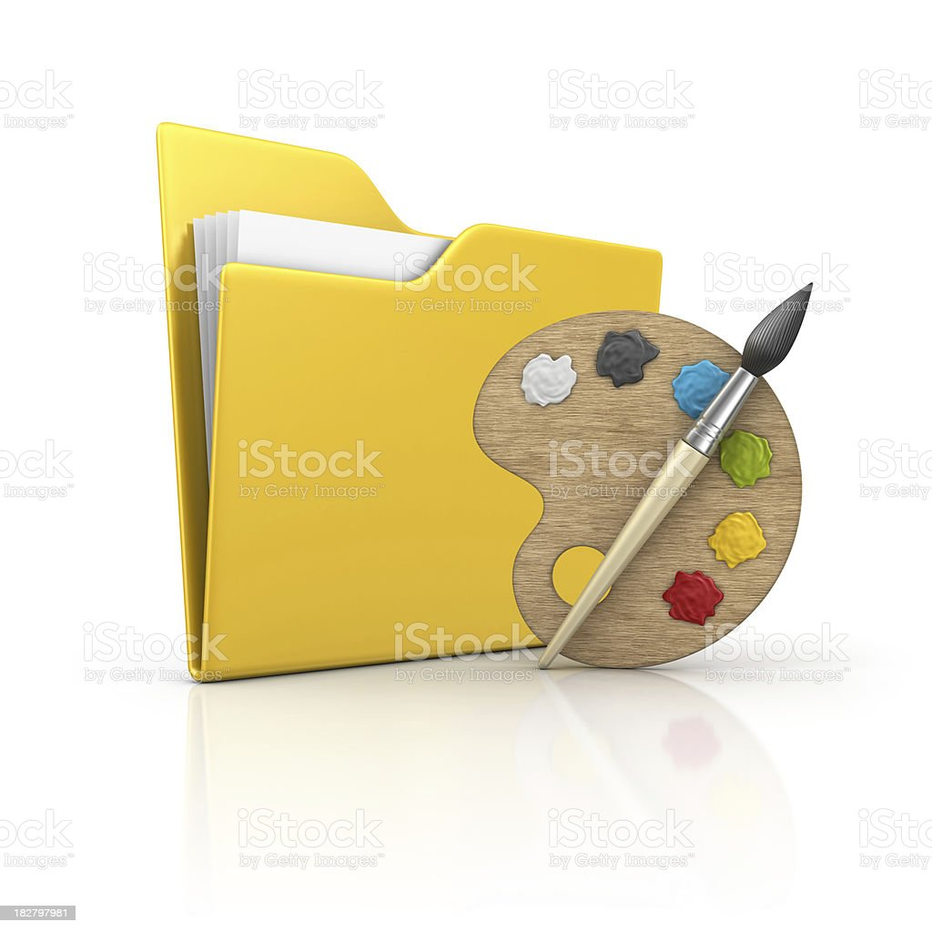 folder and art palette royalty-free stock photo