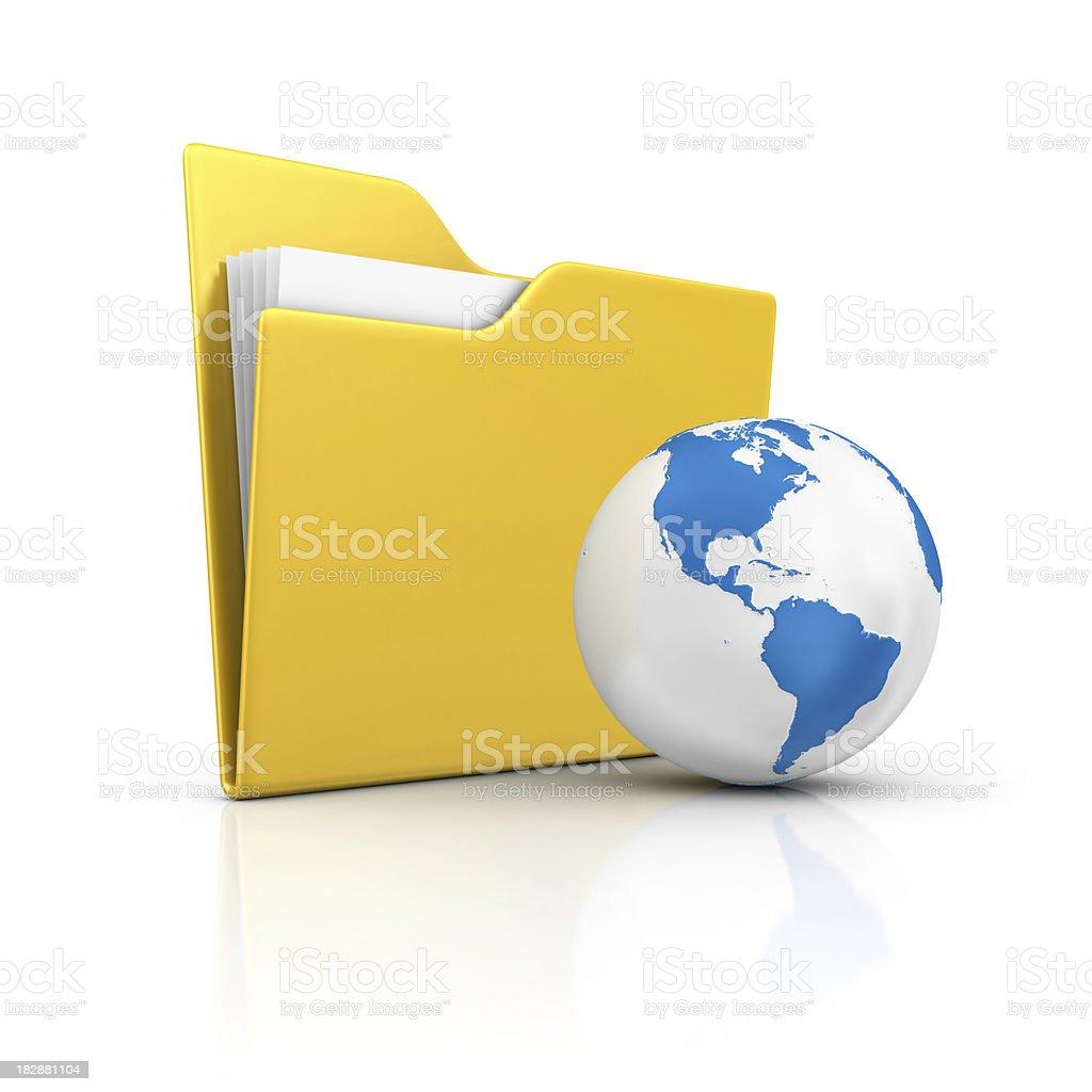 folder and earth stock photo