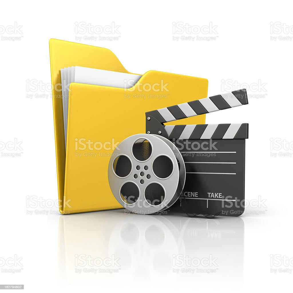 folder and film stuff stock photo