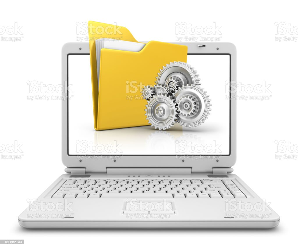 folder and gears in laptop royalty-free stock photo
