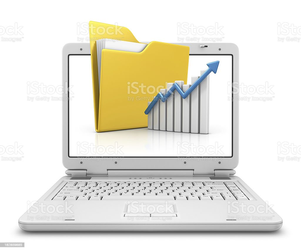 folder and graph in laptop royalty-free stock photo