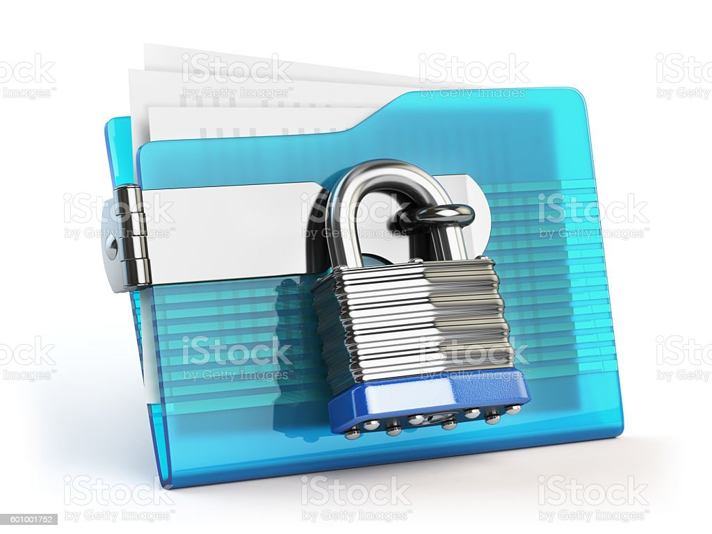 Folder and lock. Data and privacy security concept. Information stock photo