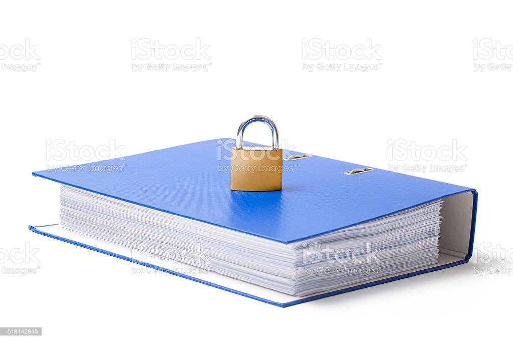 Folder and Locked Padlock stock photo