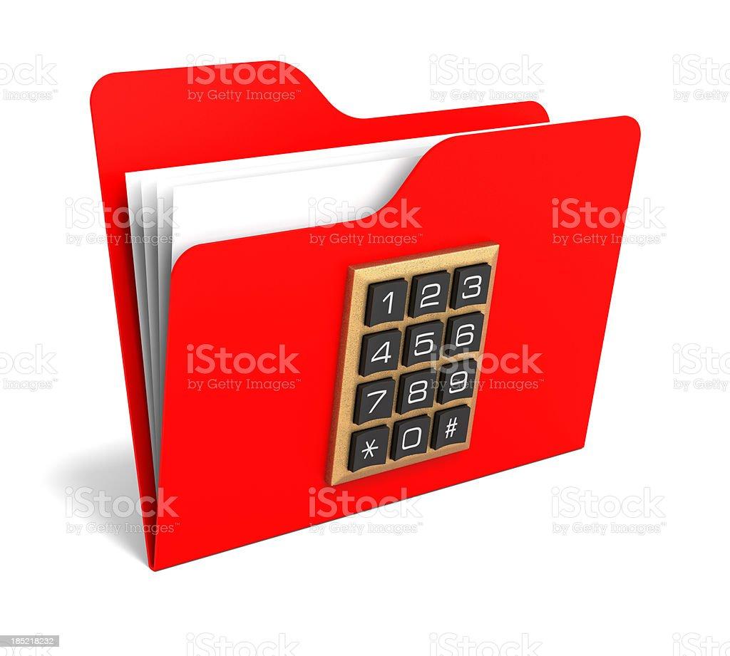Folder and Numeric Padlock stock photo