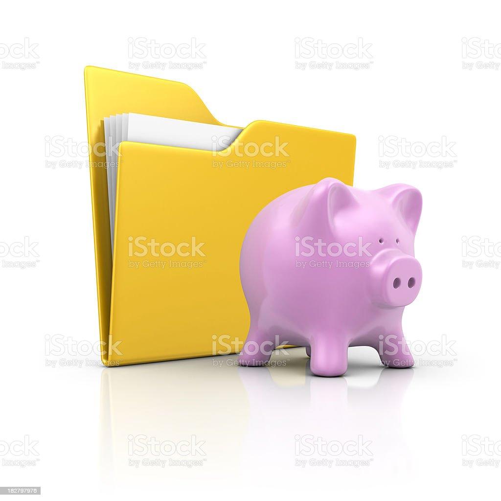 folder and piggy bank royalty-free stock photo