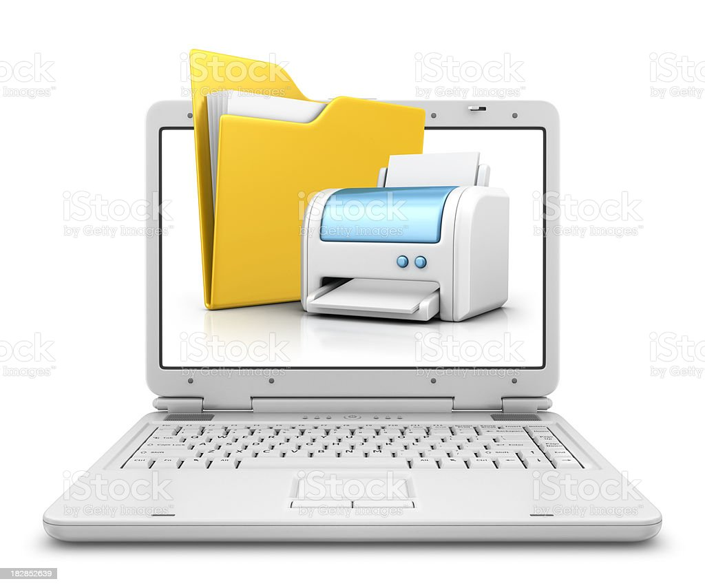 folder and printer in laptop royalty-free stock photo